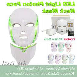 7 Color LED Light Photon Face Neck Mask Rejuvenation Skin Fa