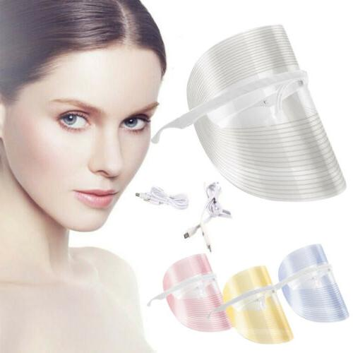 3 Color LED Photon Face Rejuvenation Skin Facial Wrinkle