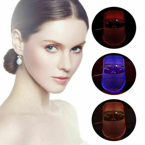 3 Colors LED Light Photon Face Mask Skin Therapy Wrinkles
