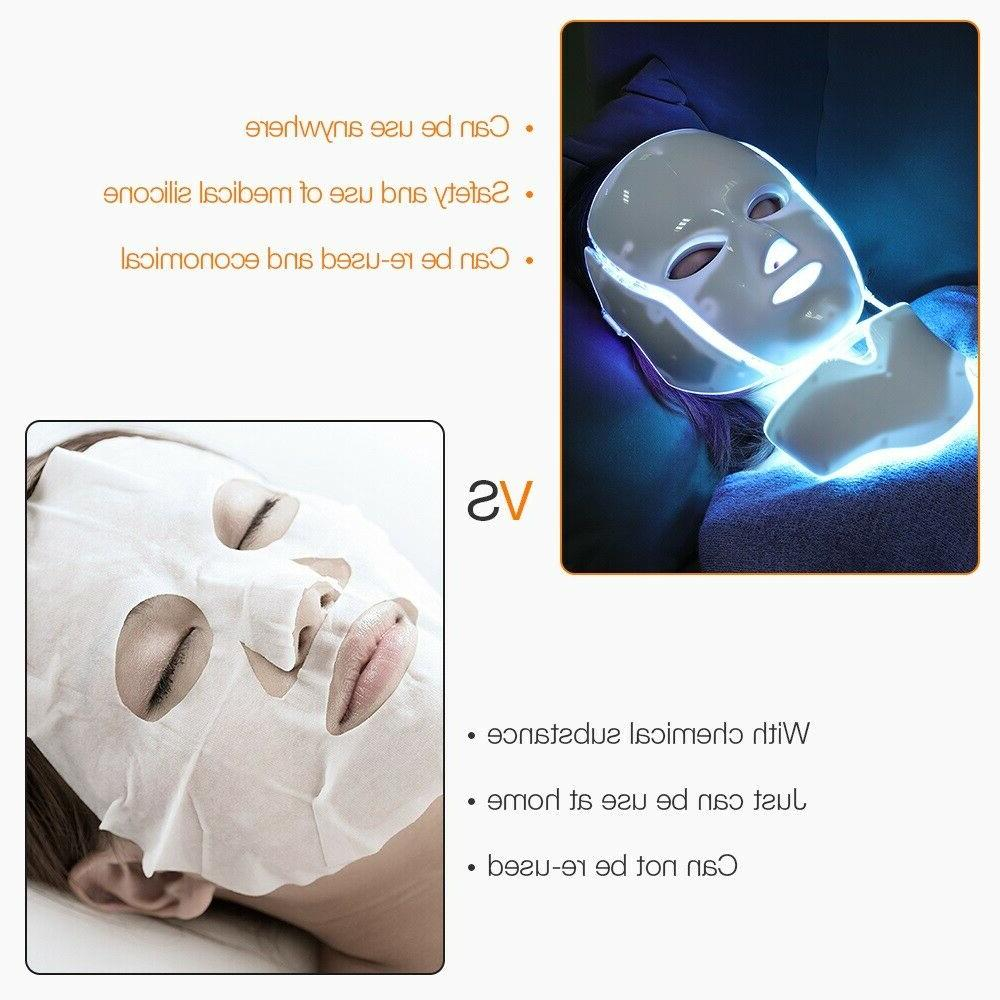 7 COLOURS LIGHT PHOTON THERAPY FACE MASK TREATMENT CARE US