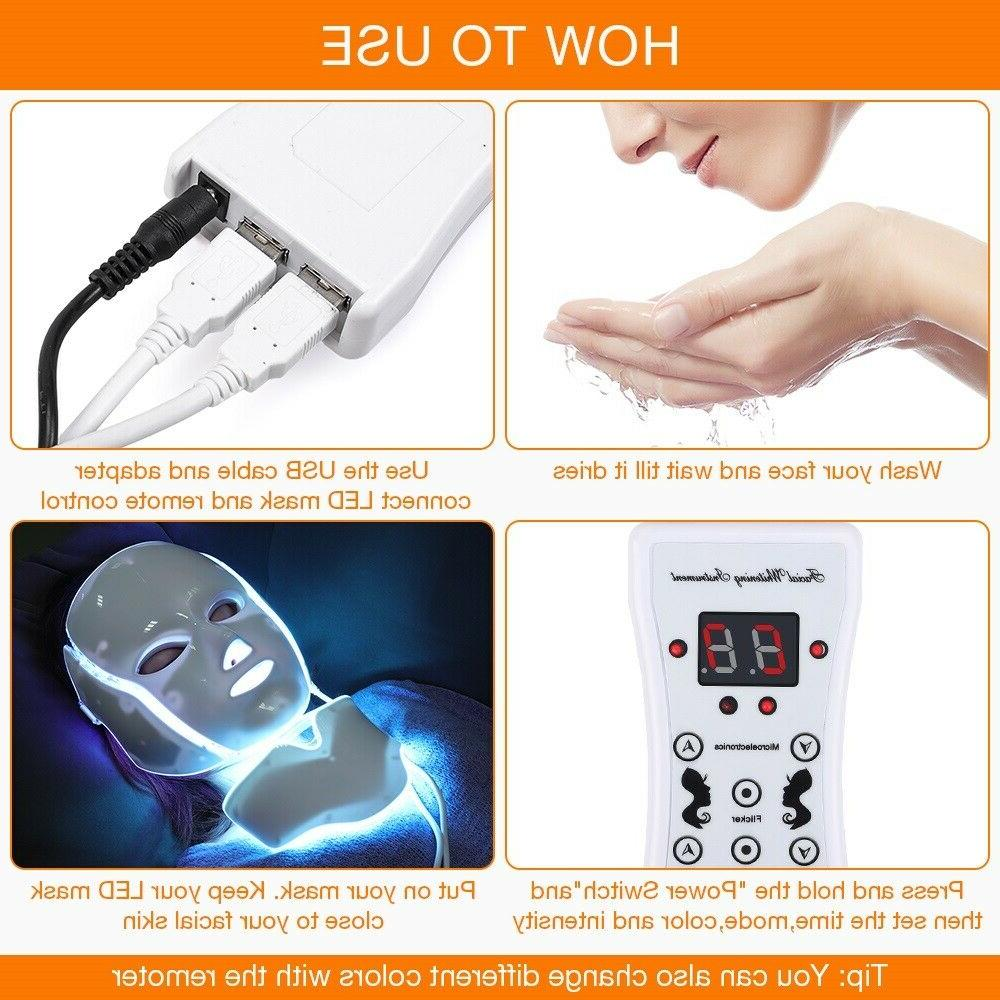 7 LED PHOTON THERAPY FACE NECK MASK TREATMENT SKIN CARE US