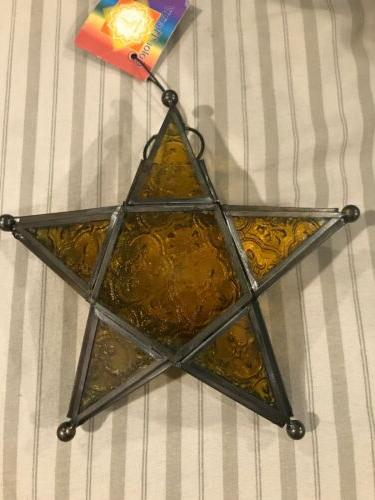 Glass & Metal Color Therapy Lanterns 5 Point Star  Mood Ligh