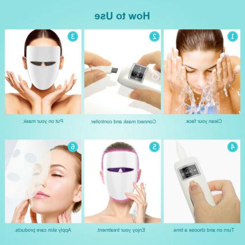 LED Photon Therapy Face Mask Skin Therapy Wrinkle Beauty US