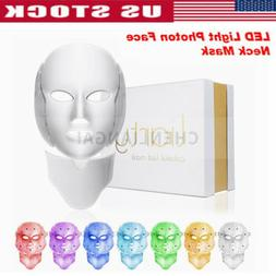 7 Colors LED Light Photon Face Neck Mask Rejuvenation Skin T