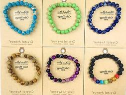 Natural Stone Stretch Bracelet, 8mm, Color Therapy Series, C