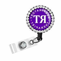 Respiratory Therapist RT Badge Reel Name ID Pull Clip Holder